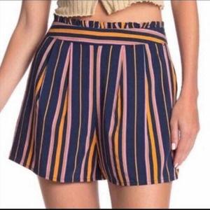 Abound Blue Striped Paperbag Waist Shorts NWOT
